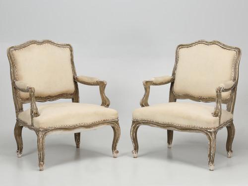 Antique Pair of Italian Armchairs in Original Paint Pair Front