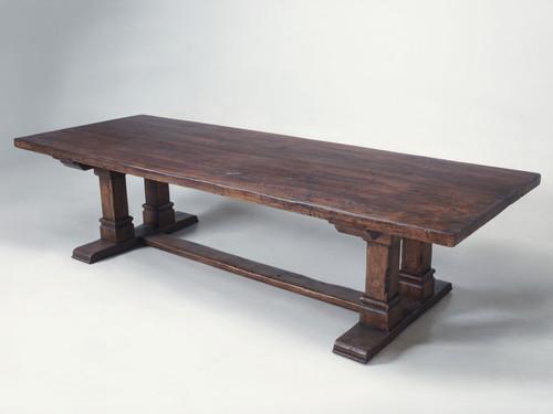 "Farmhouse Trestle Dining Table in 3"" Solid Oak Main"