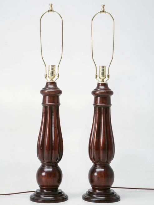 Antique English Mahogany Table Lamp Front