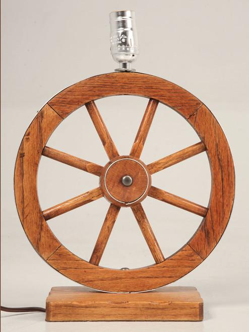 Vintage A. Brandt Oak Wagon Wheel Lamp Front