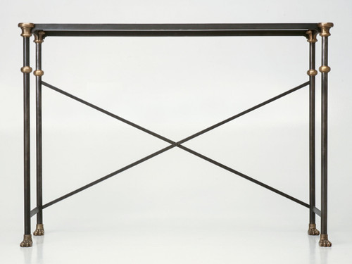 Custom Steel & Bronze Console Table Base Front View