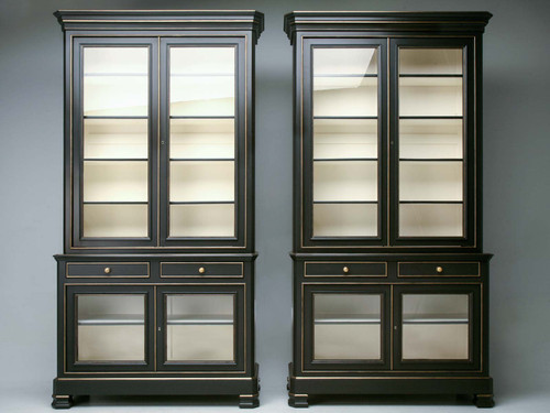 Custom Pair of Black French Style Bookcases Pair Front