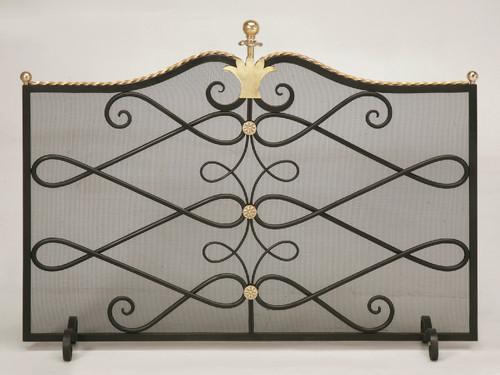 Custom Steel & Brass Fireplace Screen w/ Mesh