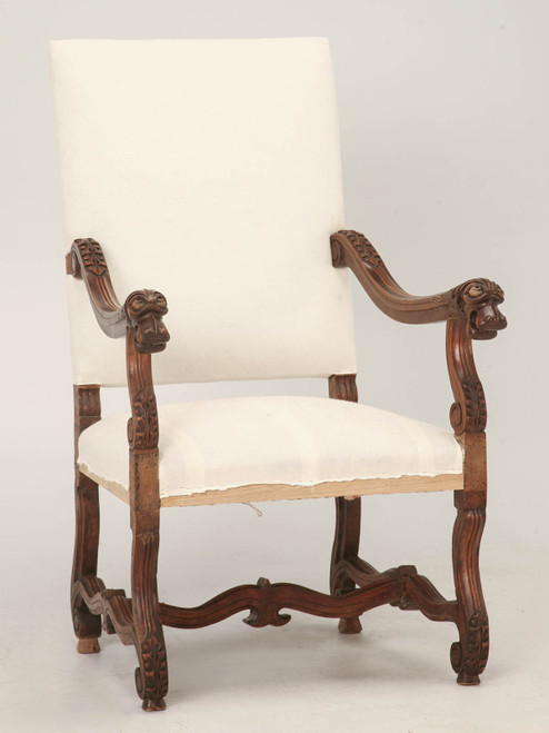 Antique French Louis XIII Style Throne Chair Angled