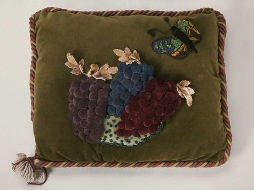 Vintage English Velvet Pillow w/Grapes