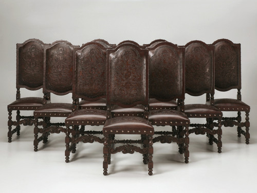 Set of 10 Spanish Tooled Leather Side Chairs Set Front