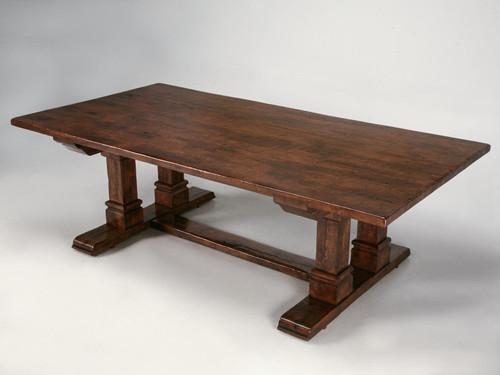 Custom Oak Trestle Table in Walnut Finish Main