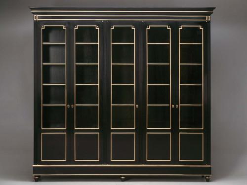 Ebonized Louis XVI Style Bookcase/China Cabinet