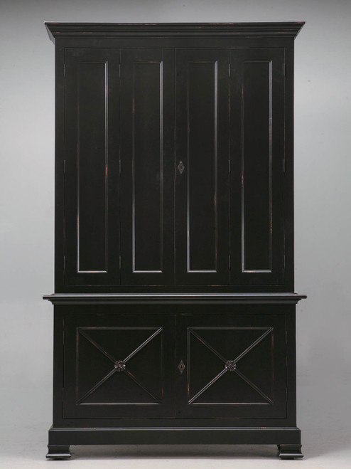 Custom Painted Black Directoire Style Cabinet