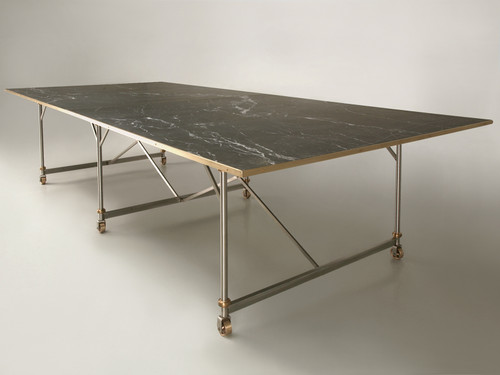 Stainless Steel and Bronze Table Base Main