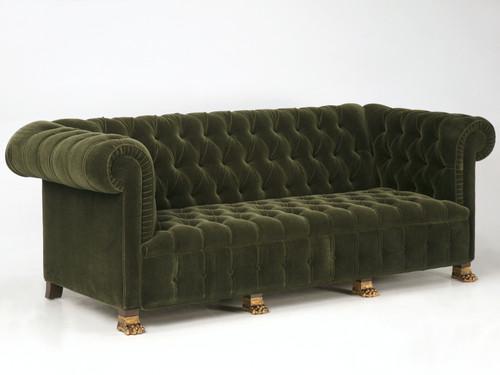 Custom French Tufted Sofa w/ Gold Feet Angled