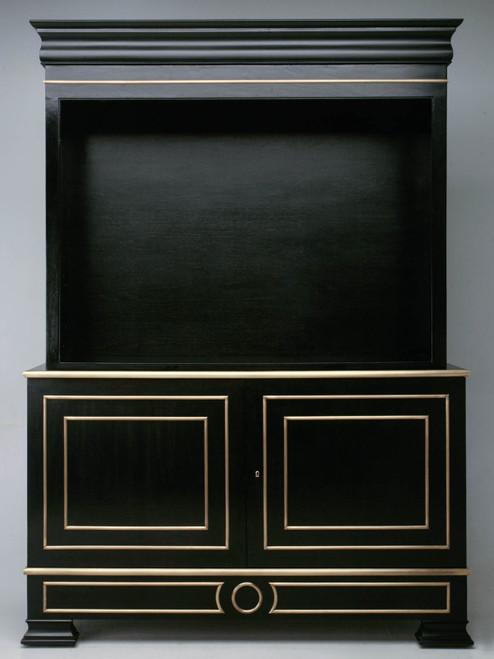 Custom Ebonized Mahogany & Bronze Bookcase Front