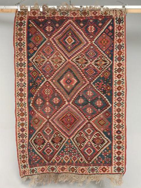 Vintage Turkish Kilim Geometric Rug