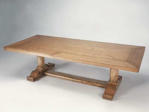 Custom French Walnut Trestle Dining Table Main
