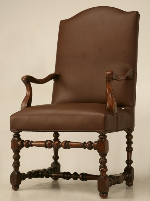 18th C. Antique French Leather Throne Chair Angled