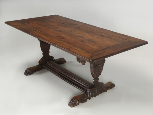 Hand Carved Antique French Walnut Trestle Table Main