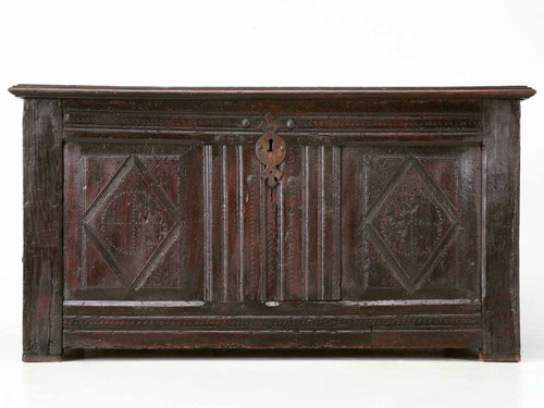 Antique French 17th Century Carved Coffer