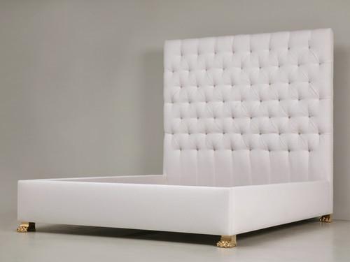 Custom Upholstered Cal King Bed w/ Bronze Feet