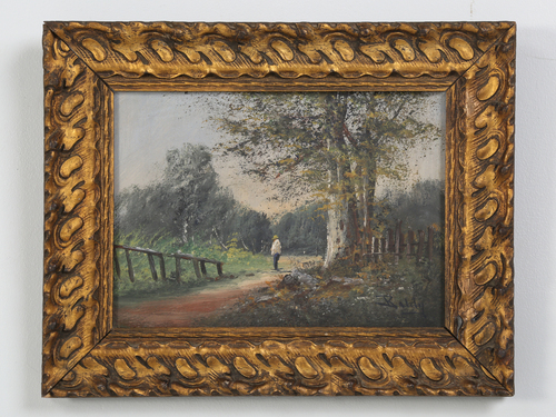 Antique French Landscape Oil Painting on Linen Signed Baldy, Original Gilt Frame