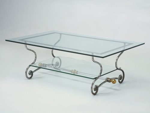 French Glass, Steel and Brass Coffee Table Angled