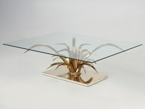 Mid-Century Modern Dore Bronze Coffee Table Angled