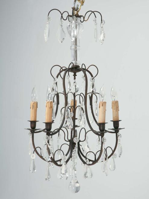 French Vintage Five-Light Bronze Chandelier Front