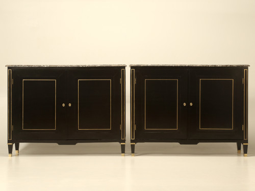 Pair of Louis XVI Ebonized Buffets Marble Tops Front