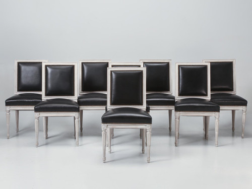 Set of 8 Painted French Louis XVI Side Chairs Full Set