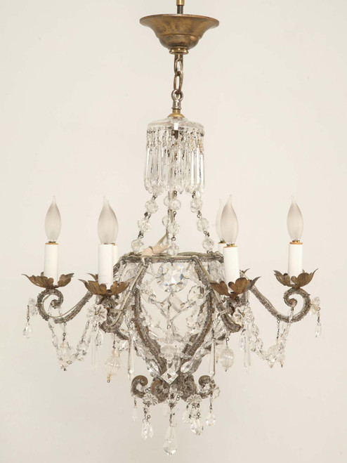 Vintage Beaded and Crystal Chandelier Front