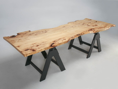 French Burl Elm Slab Dining Table, or Desk Main