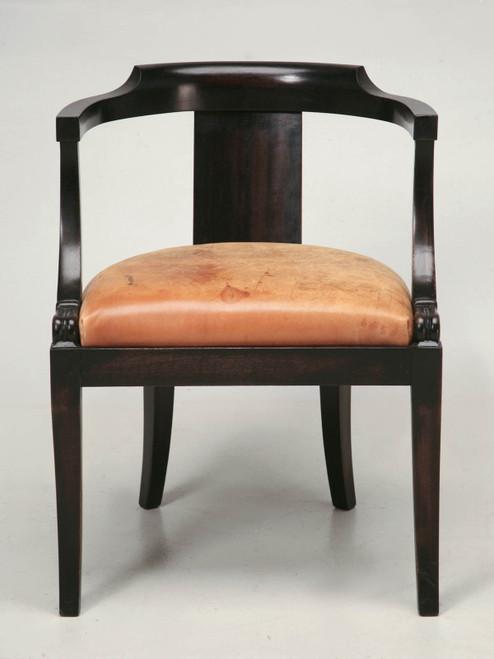 French Ebonized Mahogany Antique Desk Chair