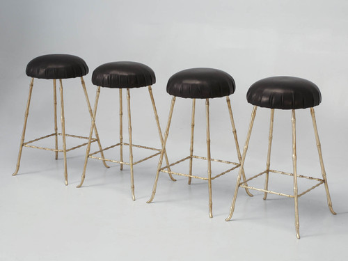 Solid Brass Counter Stools - Jansen Inspired Angled