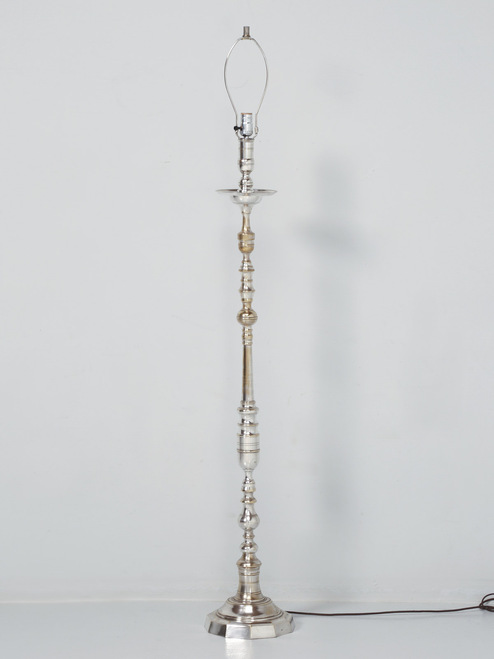 Nickel-Plated Vintage French Floor Lamp Front