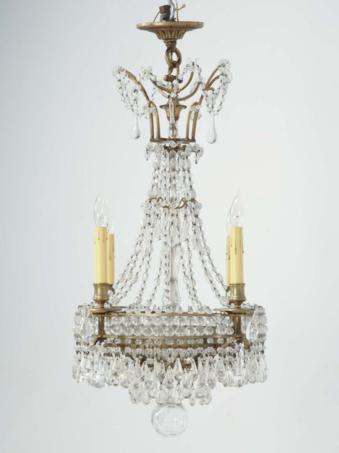 French Bronze Petite Chandelier Front