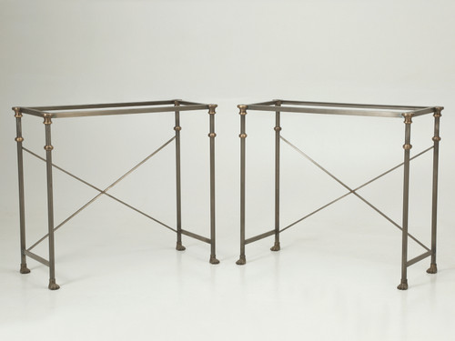 Pair of Stainless Steel Carrera Marble Console Tables Pair Angled Inward