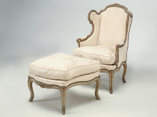 Louis XV Style French Antique Bergere Original Angled