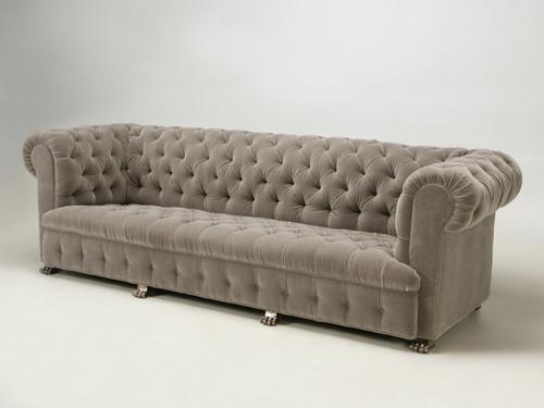 Custom Built Sofa with Solid Bronze Nickel Plated Feet Angled