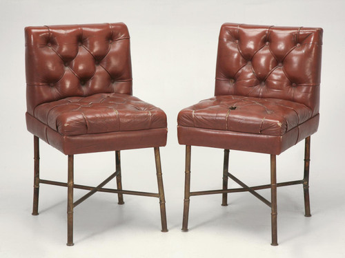 French Leather Chairs - Jacques Adnet, c.1940s Pair Front