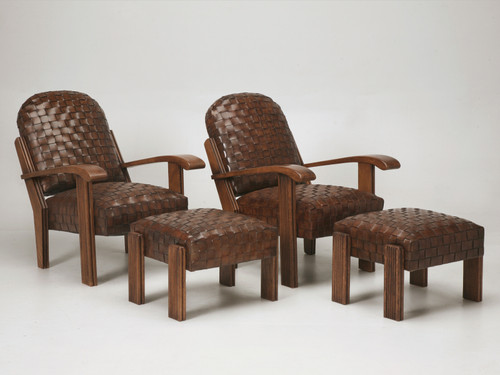 Pair of Woven Leather Club Chairs w/ Ottomans