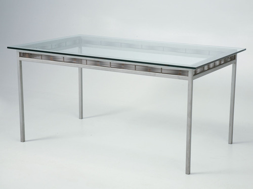 Stainless Steel Glass Indoor/Outdoor Dining Table Main