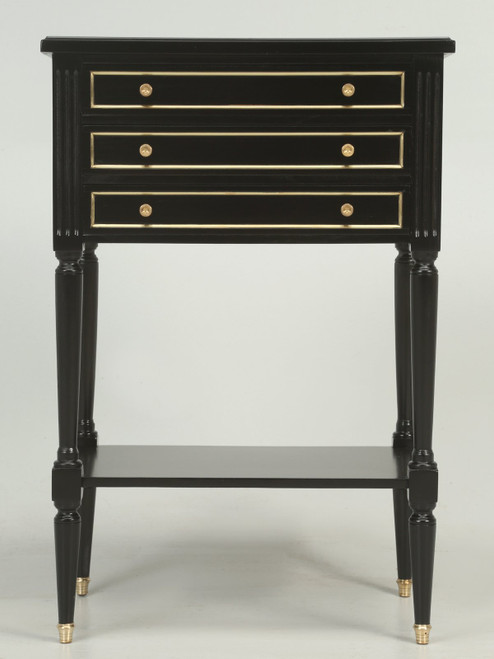 French Louis XVI Style Ebonized Nightstand or Side Table Front