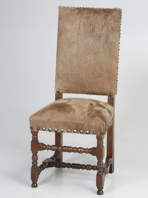 Antique French Louis XIII Style Side Chair Covered in Cow Fur on Hide Main