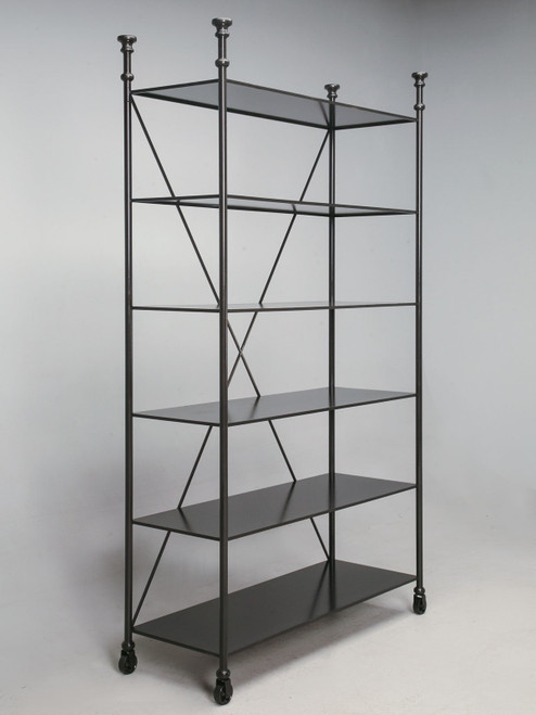Custom Built Steel Directoire Style Bookcase Angled
