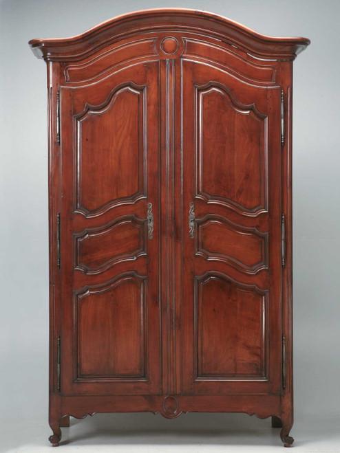 c.1800s Cherrywood Louis XV Style Armoire Front