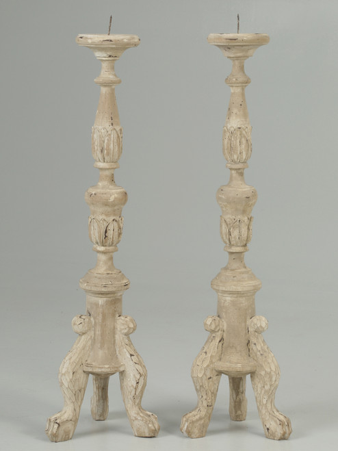 French Painted Reproduction Candle Holders Front