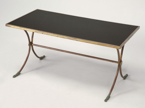 French Solid Brass and Black Coffee Table Angled