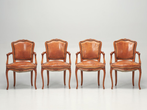 Set of 4 Louis XV Armchairs Original Leather Set Front