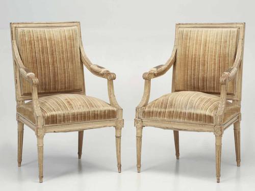 Antique Louis XVI Armchairs in Original Paint Pair Front