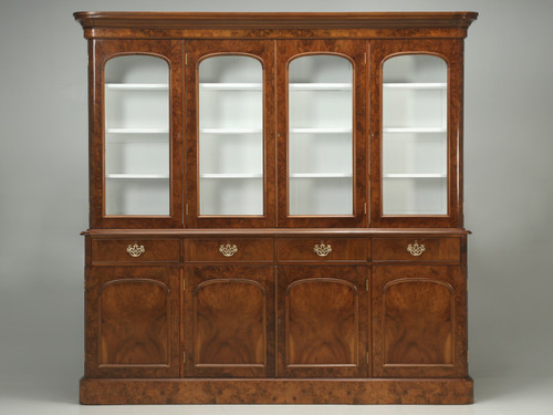 Antique English Burl Walnut Bookcase 1800s