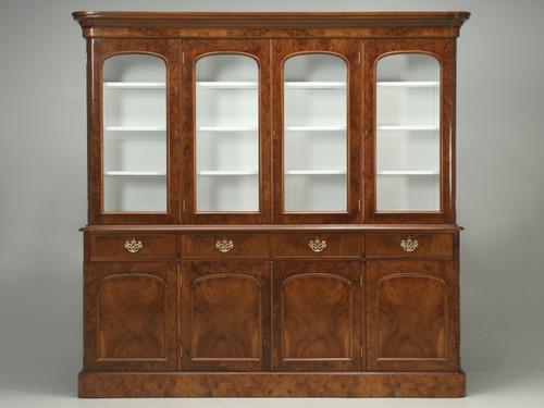 Antique English Burl Walnut Bookcase 1800s Front